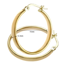 Load image into Gallery viewer, 9ct Yellow Gold Dome Tube Fine Hoop Earrings of 15mm Diameter