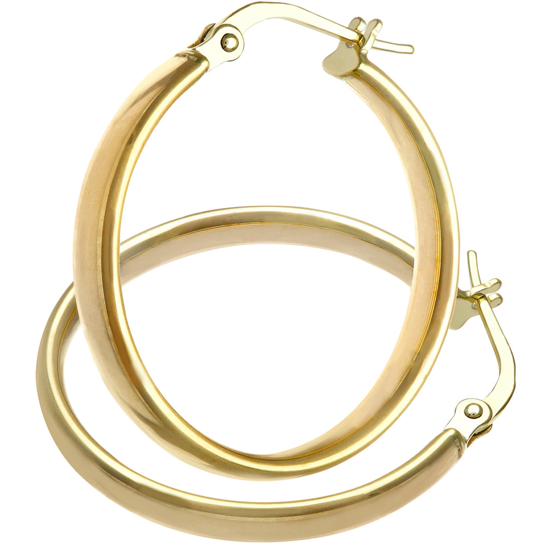 9ct Yellow Gold Dome Tube Fine Hoop Earrings of 15mm Diameter