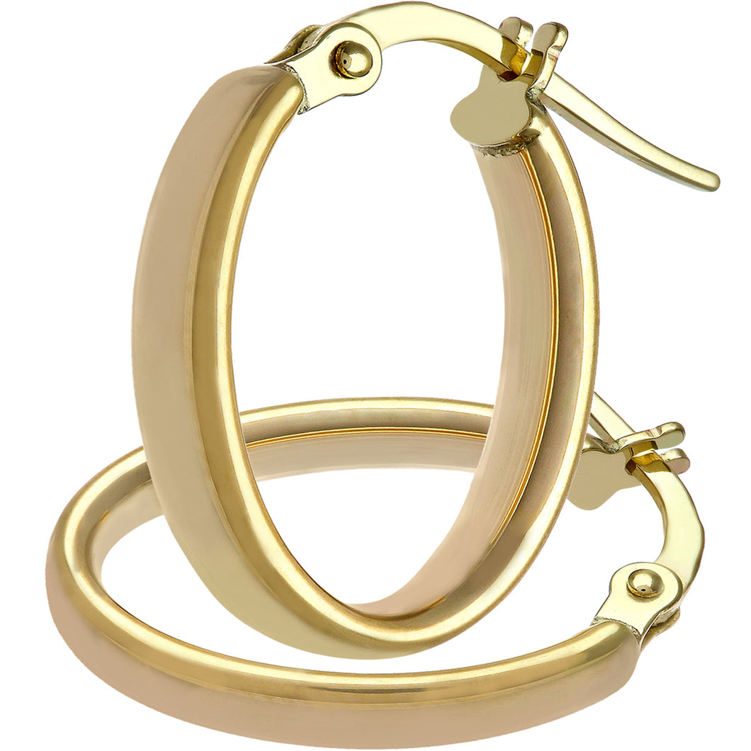 9ct Yellow Gold Oval Dome Tube Small Hoop Earrings