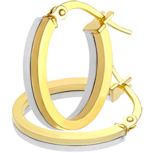 Load image into Gallery viewer, 9ct White and Yellow Gold Small Layered Square Tube Oval Hoop Earrings