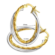 Load image into Gallery viewer, 9ct Yellow And White Gold Diamond Cut Crossover Hoop Earrings of 20mm Diameter