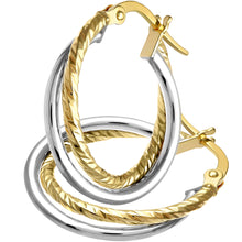 Load image into Gallery viewer, 9ct Yellow Gold With White Gold Diamond Cut Hoop Earrings of 15mm Diameter