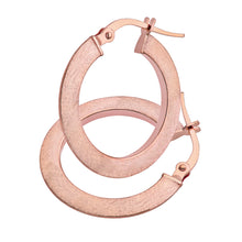 Load image into Gallery viewer, 9ct Rose Gold Matte Flat Hoop Earrings
