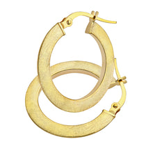 Load image into Gallery viewer, 9ct Yellow Gold Matte Flat Hoop Earrings