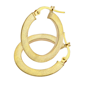 9ct Yellow Gold Matte Flat Hoop Earrings