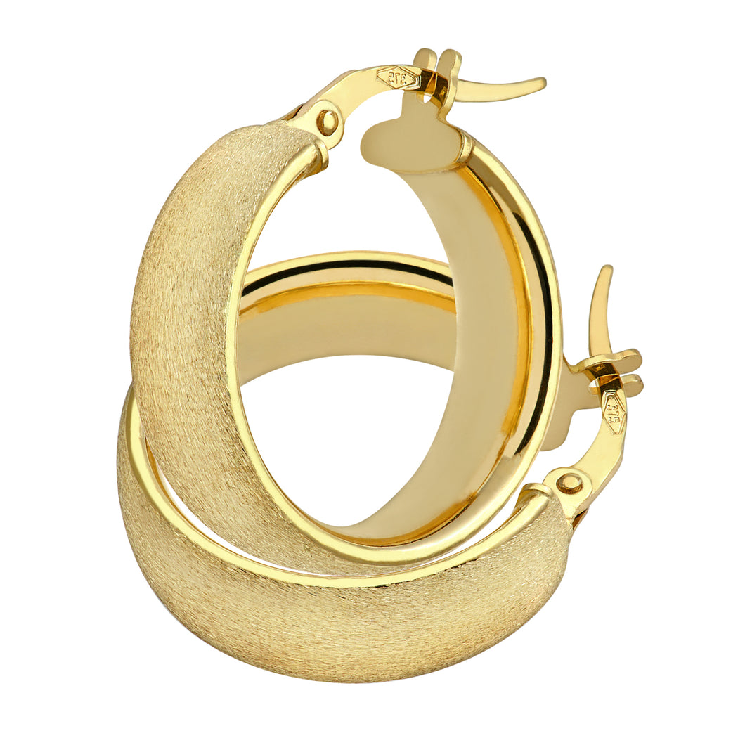 9ct Yellow Gold Matte Domed Hoop Earrings