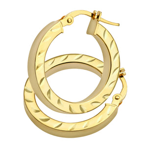 AR052Y 9ct Yellow Gold Side Diamond Cut Square Tube Hoop Earrings