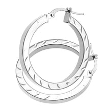 Load image into Gallery viewer, AR053W 9ct White Gold Side Diamond Cut Square Tube Hoop Earrings