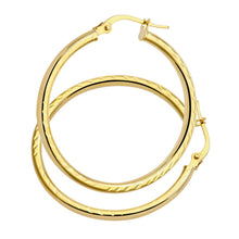 Load image into Gallery viewer, AR057Y 9ct Yellow Gold Side Diamond Cut  Round Hoop Earrings