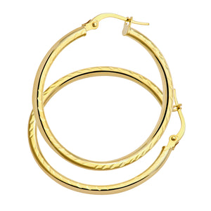 AR057Y 9ct Yellow Gold Side Diamond Cut  Round Hoop Earrings