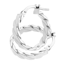Load image into Gallery viewer, 9ct White Gold Flat Striped Design Hoop Earrings