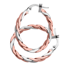 Load image into Gallery viewer, 9ct Rose and White Gold Alternate Twist Hoop Earrings
