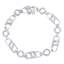 Load image into Gallery viewer, 9ct White Gold 0.54ct Diamond Padlock Design And Round Link Bracelet