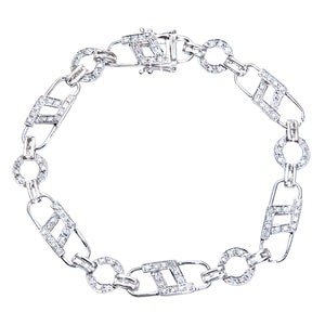 9ct White Gold 0.54ct Diamond Padlock Design And Round Link Bracelet
