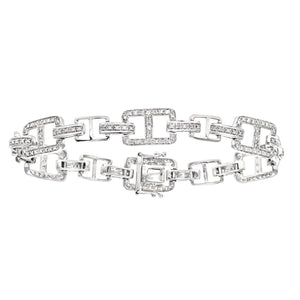 9ct White Gold 0.92ct Diamond Open Square Link Bracelet