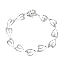 Load image into Gallery viewer, 9ct White Gold 0.45ct Diamond Heart Link Bracelet of 17cm