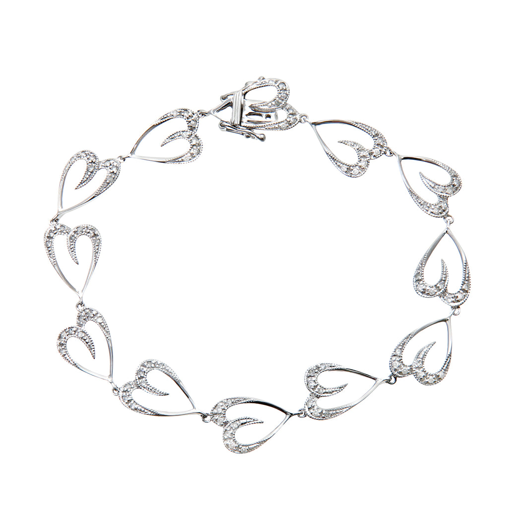 9ct White Gold 0.45ct Diamond Heart Link Bracelet of 17cm