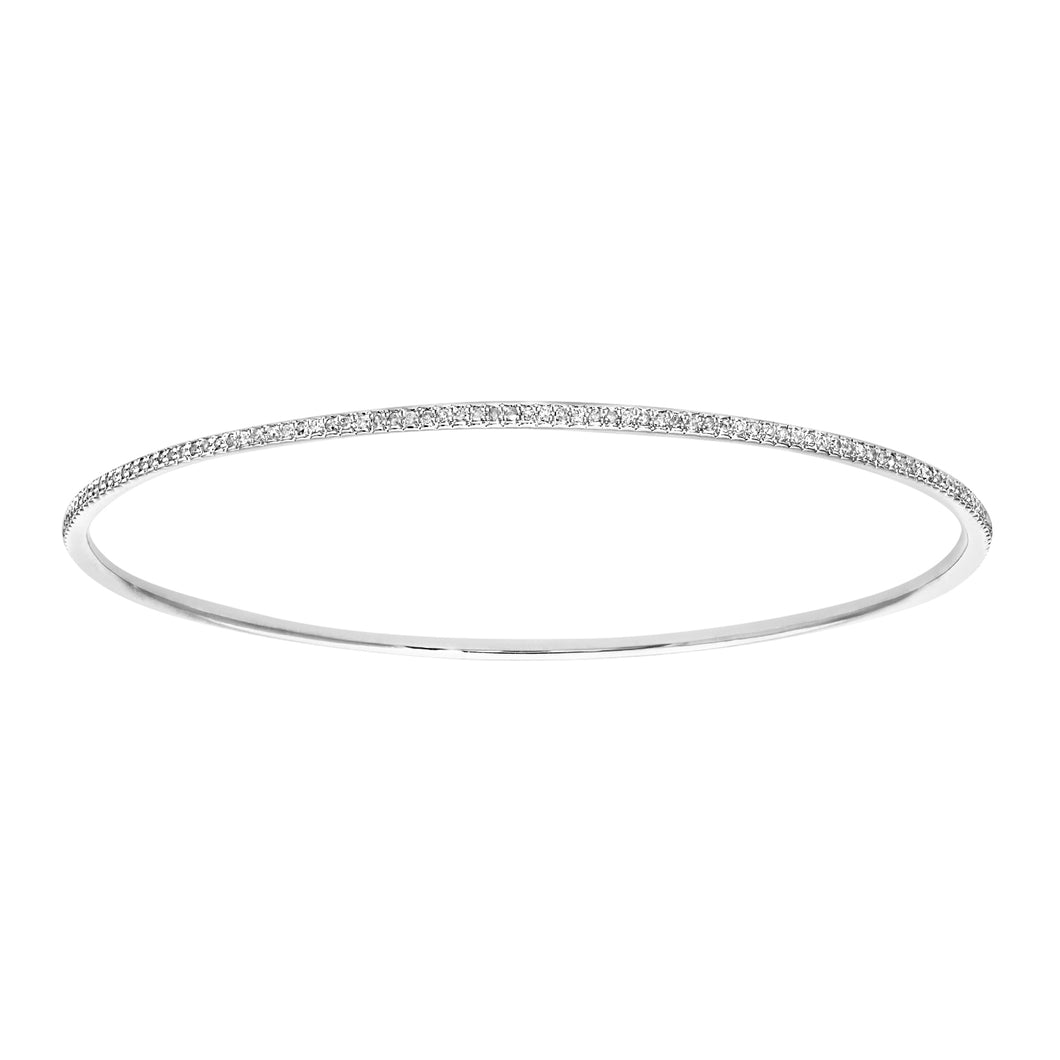 9ct White Gold 0.55ct Pave Set Diamond Bangle of 6.5cm