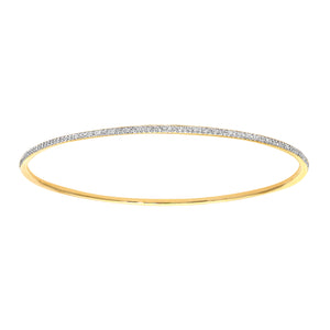 9ct Yellow Gold 0.55ct Pave Set Diamond Bangle of 6.5cm