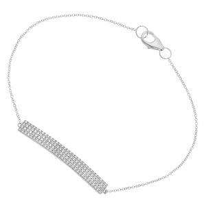 9ct White Gold Pave Set Diamond Bar Bracelet of 17.8cm