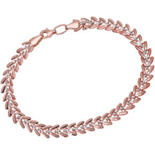 Load image into Gallery viewer, 9ct Rose and White Gold Small V-Links Bracelet of Length 19cm