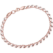 Load image into Gallery viewer, 9ct Rose and White Gold Heart on Heart Links Bracelet of Length 19cm