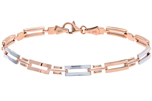 9ct Rose and Yellow Gold Bar Link Bracelet of Length 19cm