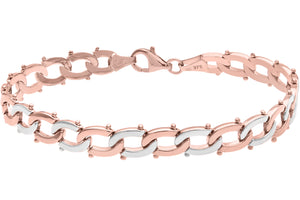 9ct Rose and White Gold Alternate Interlinked Split Oval Bracelet of Length 19cm