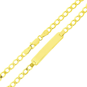 9ct Yellow Gold Curb Link ID Bracelet of 7.5 Inch/19cm Length and 0.6cm Width