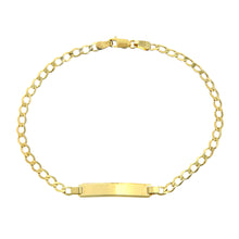 Load image into Gallery viewer, 9ct Yellow Gold Curb Link ID Bracelet of 7.5 Inch/19cm Length and 0.6cm Width