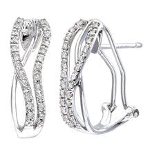 Load image into Gallery viewer, 9ct White Gold Quarter Carat Diamond Crossover Earrings
