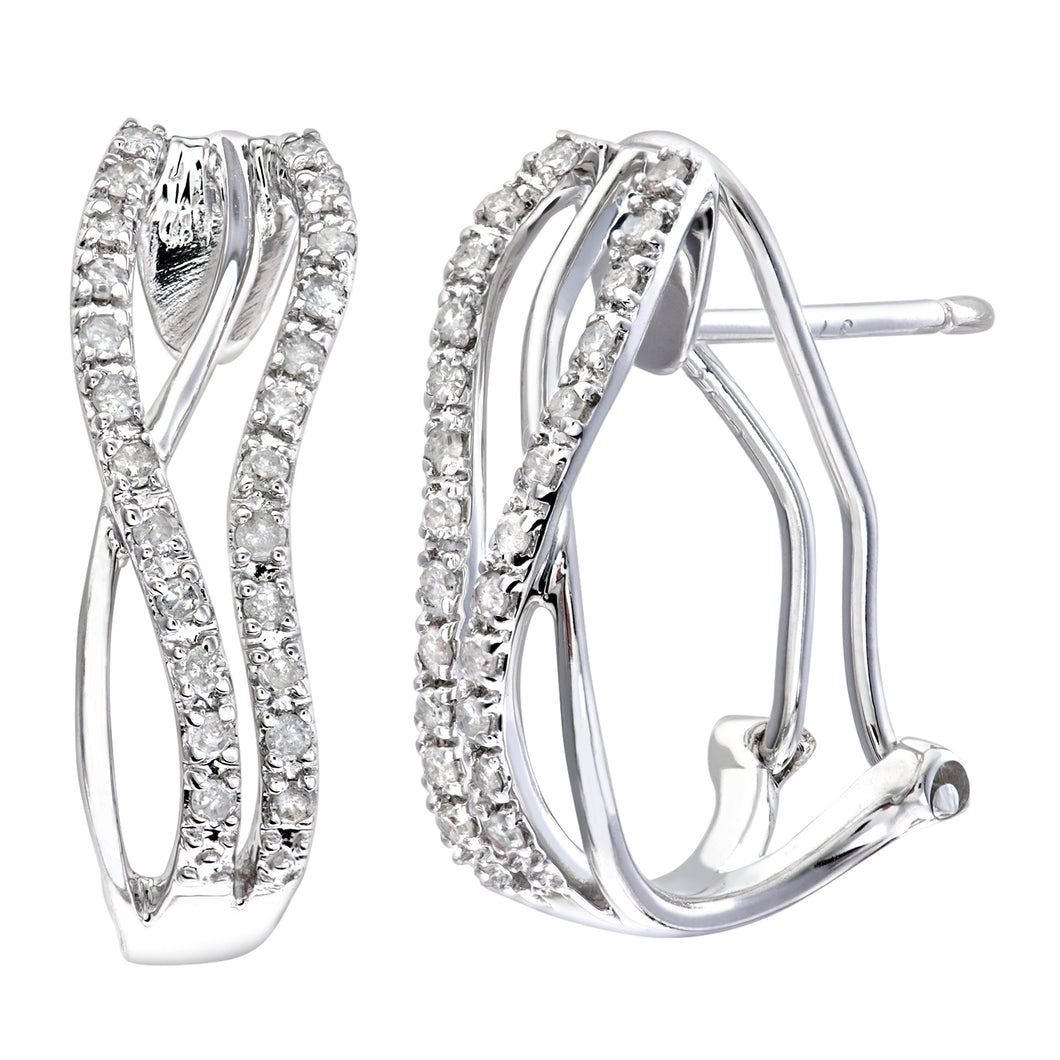 9ct White Gold Quarter Carat Diamond Crossover Earrings