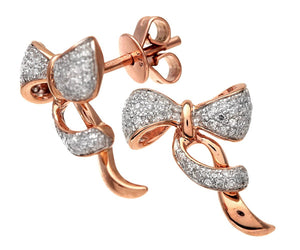 9ct Rose and White Gold Diamond Bow Earrings