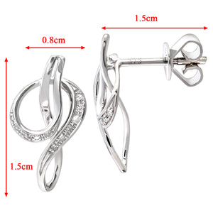 9ct White Gold Diamond Twist Drop Earrings