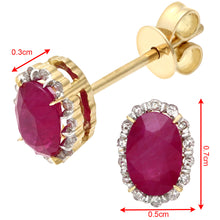 Load image into Gallery viewer, 18ct Yellow Gold 0.80ct Ruby and Diamonds Oval Cluster Earrings