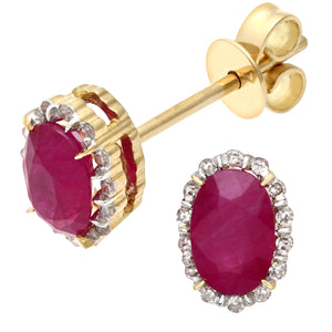 18ct Yellow Gold 0.80ct Ruby and Diamonds Oval Cluster Earrings