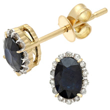 Load image into Gallery viewer, 18ct Yellow Gold 0.80ct Sapphire and Diamonds Oval Cluster Earrings