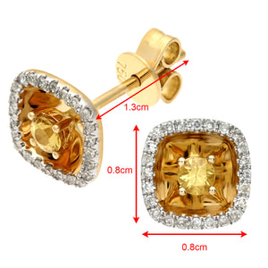 18ct Yellow Gold 0.25ct Square Yellow Sapphire and Diamonds Stud Earrings