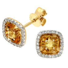 Load image into Gallery viewer, 18ct Yellow Gold 0.25ct Square Yellow Sapphire and Diamonds Stud Earrings