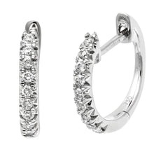 Load image into Gallery viewer, 18ct White Gold 0.18ct Diamond Filled Hoop Earrings