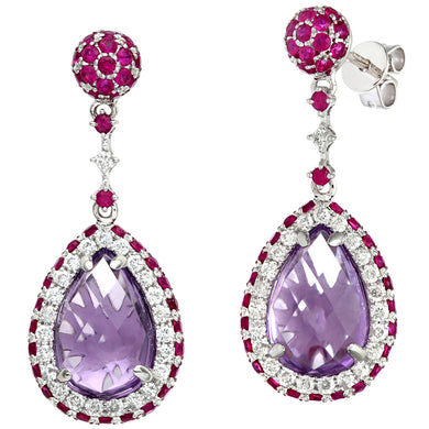 18ct Yellow Gold 0.57ct Diamonds and Ruby with Teardrop Shaped Amethyst Drop Earrings