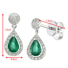 Load image into Gallery viewer, 18ct White Gold 0.25ct Diamonds With Teardrop Shaped Emerald Drop Earrings