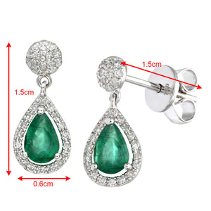 18ct White Gold 0.25ct Diamonds With Teardrop Shaped Emerald Drop Earrings