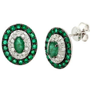 18ct White Gold 0.30ct Diamonds and Emerald Alternate Oval Stud Earrings