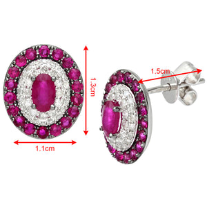 18ct White Gold 0.30ct Diamonds and Ruby Alternate Oval Stud Earrings