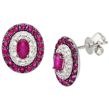 Load image into Gallery viewer, 18ct White Gold 0.30ct Diamonds and Ruby Alternate Oval Stud Earrings