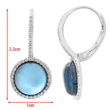 Load image into Gallery viewer, 9ct White Gold Diamond and Round 5.30ct Blue Topaz Gemstone Drop Earrings