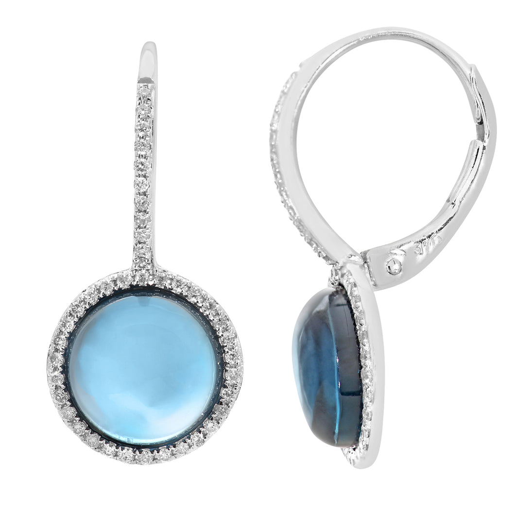 9ct White Gold Diamond and Round 5.30ct Blue Topaz Gemstone Drop Earrings