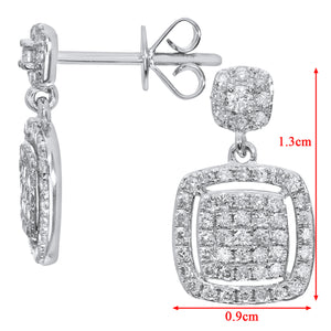 18ct White Gold 0.50ct Pave Set Diamond Square Drop Earrings