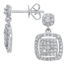 Load image into Gallery viewer, 18ct White Gold 0.50ct Pave Set Diamond Square Drop Earrings